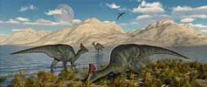 Olorotitan Duckbilled Dinosaurs Grazing