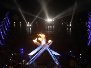 Olympic Cauldron after Being Lit at the Opening Ceremony for the 2010 Olympics