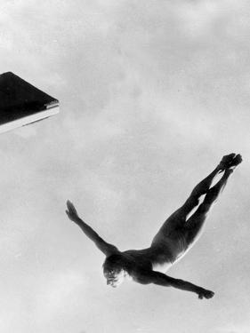Olympic Games in Helsinki : Diving During Swimming Events July 29, 1952