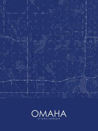 Omaha, United States of America Blue Map