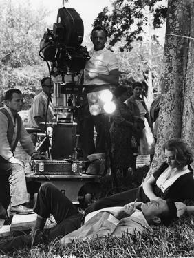 On the set of film ROCCO and SES FRERES, Luchino Visconti directs Renato Salvatori and Annie Girard