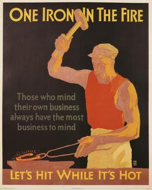 One Iron in the Fire Vintage Art Print Poster