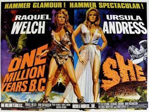 One Million Years BC, 1966, She, 1965, US lobby card