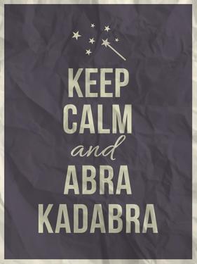 Keep Calm Abra Cadabra Quote on Crumpled Paper Texture by ONiONAstudio