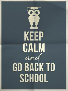 Keep Calm and Back to School Design Typographic Quote with Owl by ONiONAstudio
