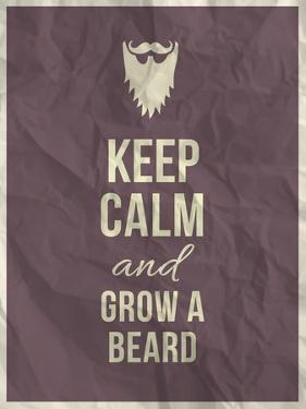 Keep Calm and Grow A Beard Quote on Crumpled Paper Texture by ONiONAstudio