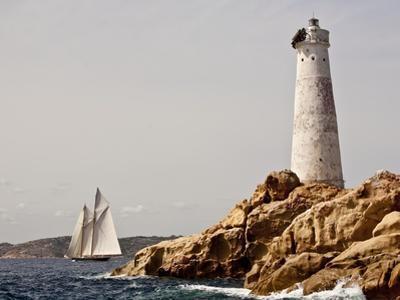 Shenandoah of Sark Schooner Sails Past Sardinia's Monaci Lighthouse on Costa Smeralda