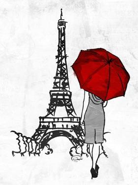 Inked Walk Away Mate Red Umbrella by OnRei