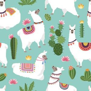 Llama and Cactus Pattern by ONYXprj