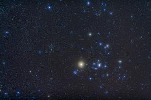 Open Cluster Hyades and Giant Star Aldebaran in the Constellation of Taurus