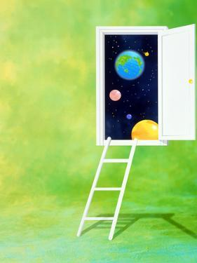 Open White Door with Spheres And White Ladder on Green Background