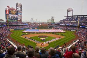 Opening Day Ceremonies featuring gigantic American Flag in Centerfield on March 31, 2008, Citize...