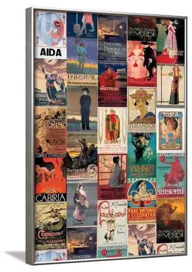 Opera Vintage Style Poster Collage--Framed Poster