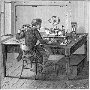 Operator Receiving a Message in Morse Code on an Electric Printing Telegraph, 1887