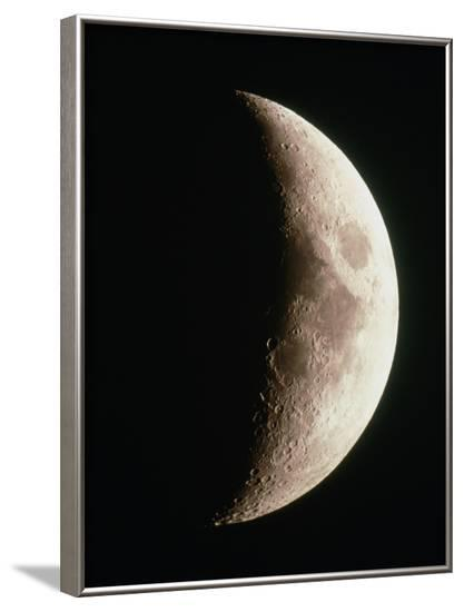 Optical Image of a Waxing Crescent Moon-John Sanford-Framed Photographic Print