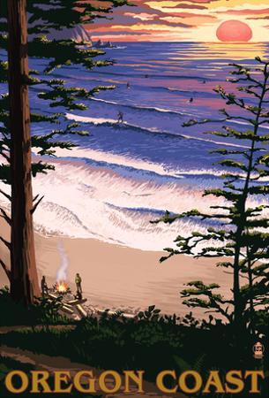 Oregon Coast Sunset Surfers