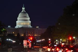Capitol Building at Night with Street and Car Lights, Washington DC USA by Orhan
