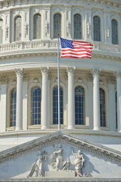 Capitol Building in Washington DC USA - Close-Up to Dome and US Flag by Orhan