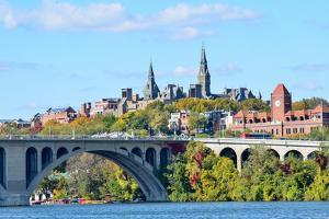 Washington Dc, a View from Georgetown and Key Bridge in Autumn by Orhan