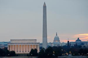 Washington DC City View at Sunrise, including Lincoln Memorial, Monument and Capitol Building by Orhan