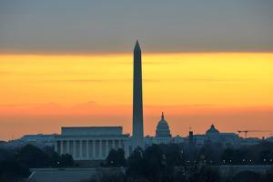 Washington DC City View in Sunrise, including Lincoln Memorial, Monument and Capitol Building by Orhan