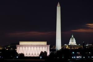 Washington DC National Mall at Sunrise, including Lincoln Memorial, Monument and United States Capi by Orhan