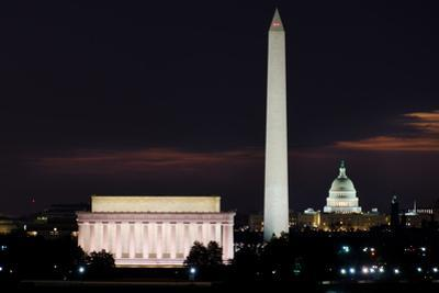 Washington DC National Mall at Sunrise, including Lincoln Memorial, Monument and United States Capi