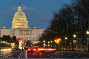 Washington Dc, United States Capitol Building Night View from from Pennsylvania Avenue with Car Lig by Orhan