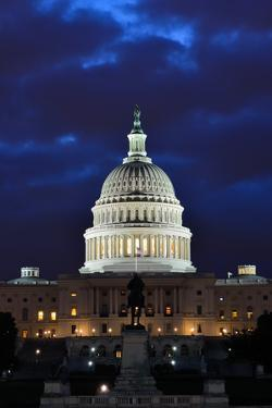 Washington DC - US Capitol Building in Dusk with Blue Cloudy Sky by Orhan