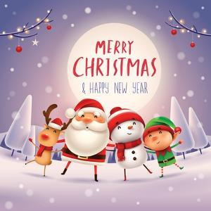 Merry Christmas! Happy Christmas Companions in the Moonlight. Santa Claus, Snowman, Reindeer and El by ori-artiste