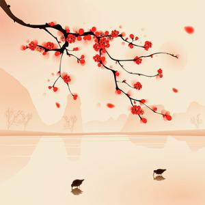 Oriental Style Painting, Plum Blossom In Spring by ori-artiste