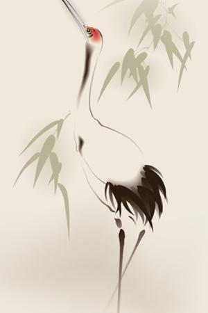 Oriental Style Painting, Red-Crowned Crane by ori-artiste