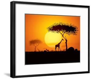 Tranquil Sunset Scene In Africa. Silhouette Animals And Trees In Africa Sunset Background by ori-artiste