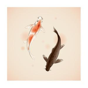 Yin Yang Koi Fishes In Oriental Style Painting by ori-artiste