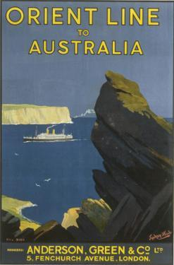 Orient Line to Australia Poster Showing a Steam Liner Passing Sydney Heads