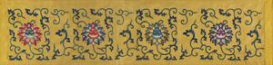 Embroidered Silk Border, with Lotus Flowers on Yellow by Oriental School