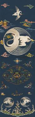 Embroidered Silk Chair Panel I, with White Cranes by Oriental School