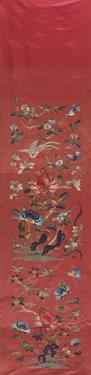 Embroidered Silk, Flowers on Coral by Oriental School