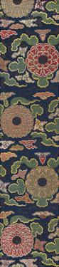Embroidered Silk Panel I, with Chrysanthemums and Clouds by Oriental School