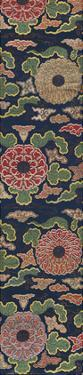 Embroidered Silk Panel II, with Chrysanthemums and Clouds by Oriental School