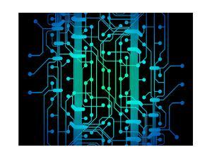 Abstract Illustration of Blue and Green Colored Circuit Board by oriontrail2
