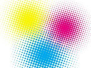 Cmyk Halftone Texture on White by oriontrail2