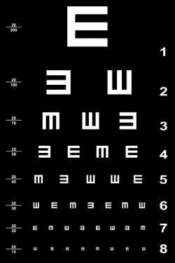 Eye Test Chart - White on Black by oriontrail2