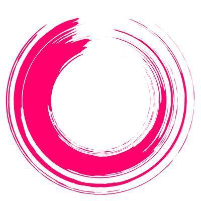 Round Pink Brush Stroke on White Paper