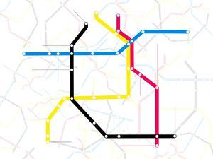 Subway Map with Grey Streets and Colored Tubes by oriontrail2