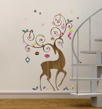Merveilleux Ornamental Reindeer Peel And Stick Giant Wall Decals