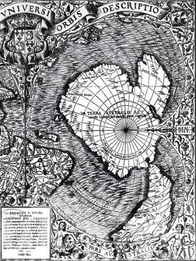 "The South Pole, Detail from the ""Mappamonde a Projection Cordiforme,"" 1531 by Oronce Fine"