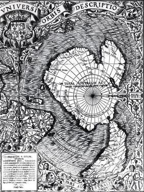"""The South Pole, Detail from the """"Mappamonde a Projection Cordiforme,"""" 1531 by Oronce Fine"""