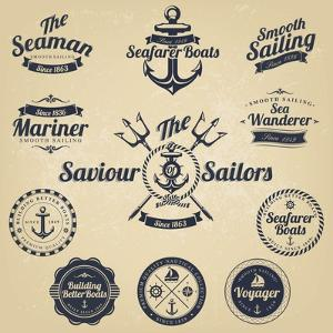 Set of Vintage Retro Nautical Badges and Labels by Oros Gabor