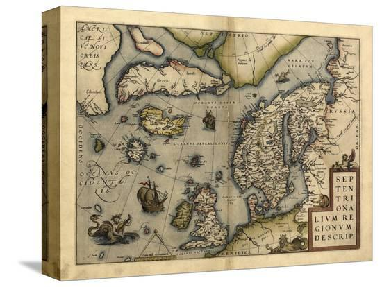 Ortelius's Map of Northern Europe, 1570-Library of Congress-Stretched Canvas Print